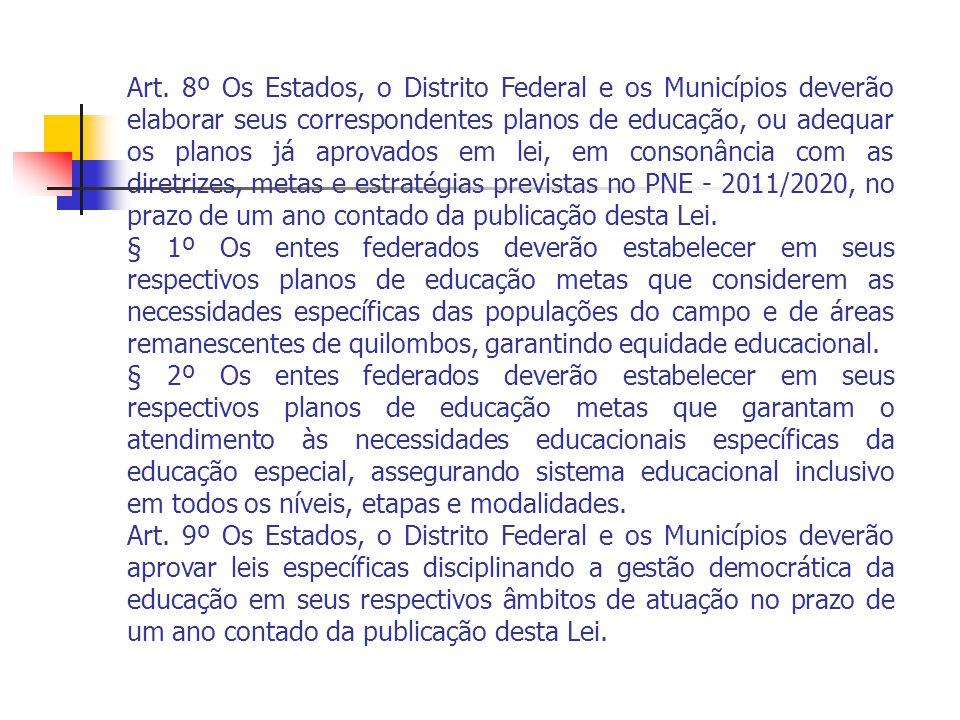 Art. 8º Os Estados, o Distrito Federal e os Municípios deverão elaborar seus correspondentes planos de educação, ou adequar os planos já aprovados em