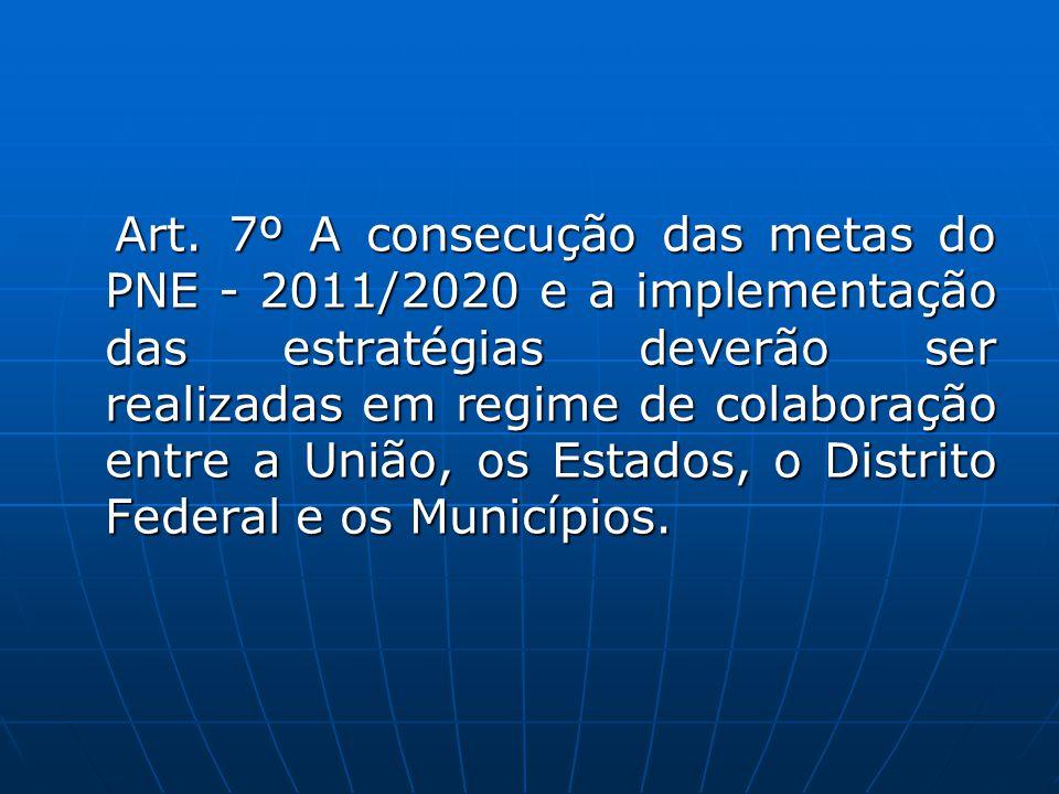 Art. 7º A consecução das metas do PNE - 2011/2020 e a implementação das estratégias deverão ser realizadas em regime de colaboração entre a União, os