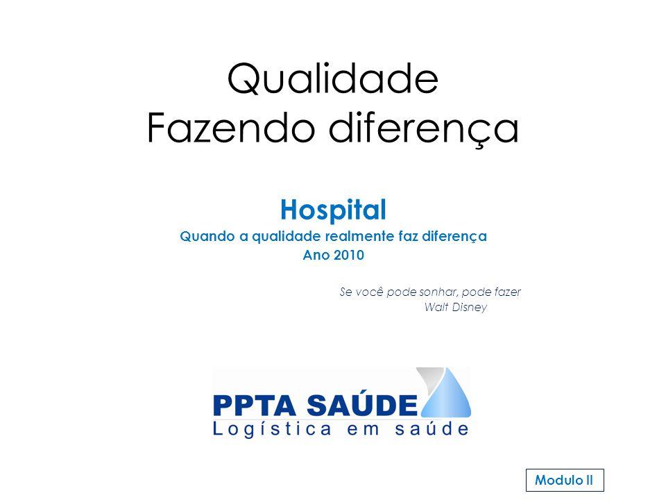 Qualidade Fazendo diferença Hospital Quando a qualidade realmente faz diferença Ano 2010 Se você pode sonhar, pode fazer Walt Disney Modulo II