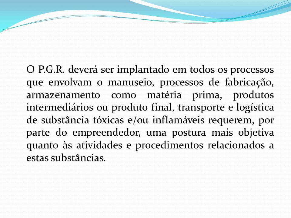 O P.G.R. deverá ser implantado em todos os processos que envolvam o manuseio, processos de fabricação, armazenamento como matéria prima, produtos inte