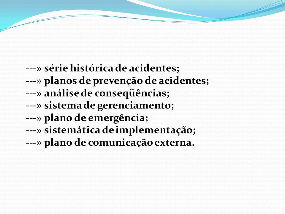 ---» série histórica de acidentes; ---» planos de prevenção de acidentes; ---» análise de conseqüências; ---» sistema de gerenciamento; ---» plano de