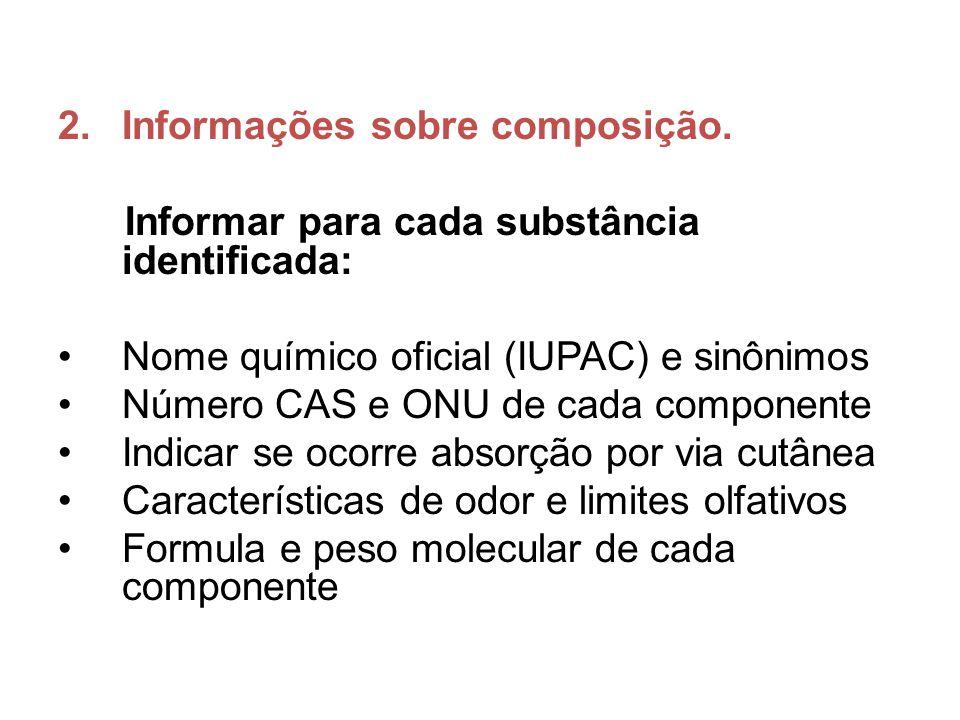 2.Informações sobre composição. Informar para cada substância identificada: Nome químico oficial (IUPAC) e sinônimos Número CAS e ONU de cada componen