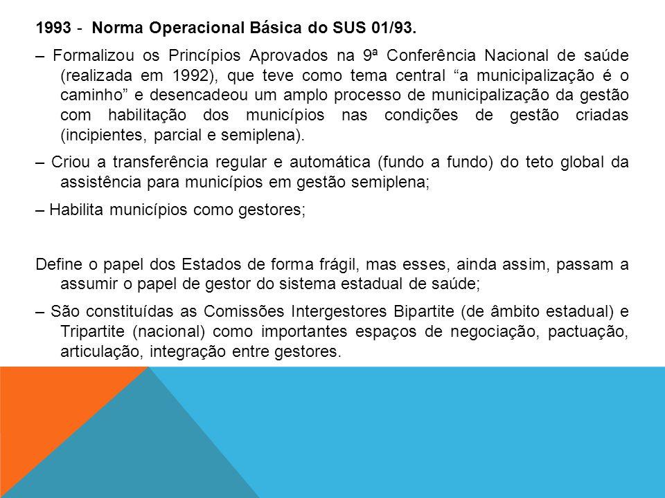 1993 - Norma Operacional Básica do SUS 01/93. – Formalizou os Princípios Aprovados na 9ª Conferência Nacional de saúde (realizada em 1992), que teve c