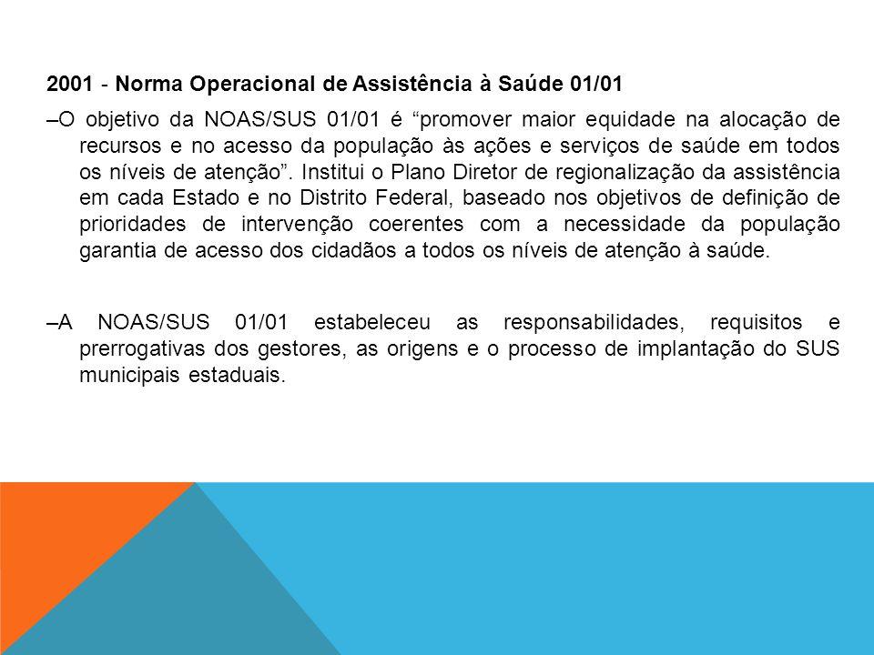 """2001 - Norma Operacional de Assistência à Saúde 01/01 –O objetivo da NOAS/SUS 01/01 é """"promover maior equidade na alocação de recursos e no acesso da"""