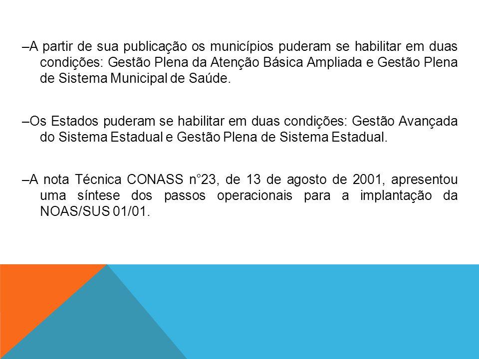 –A partir de sua publicação os municípios puderam se habilitar em duas condições: Gestão Plena da Atenção Básica Ampliada e Gestão Plena de Sistema Mu