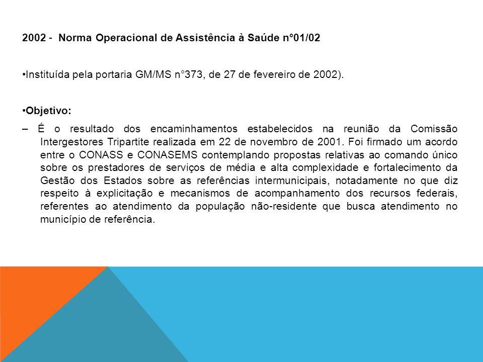 2002 - Norma Operacional de Assistência à Saúde n°01/02 Instituída pela portaria GM/MS n°373, de 27 de fevereiro de 2002). Objetivo: – É o resultado d