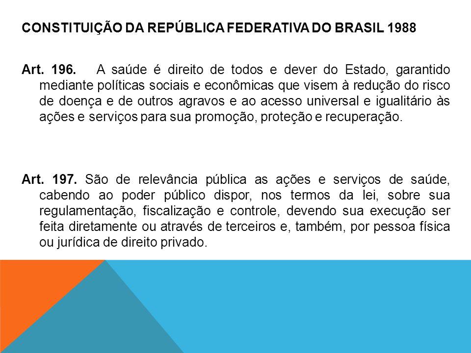 CONSTITUIÇÃO DA REPÚBLICA FEDERATIVA DO BRASIL 1988 Art. 196. A saúde é direito de todos e dever do Estado, garantido mediante políticas sociais e eco