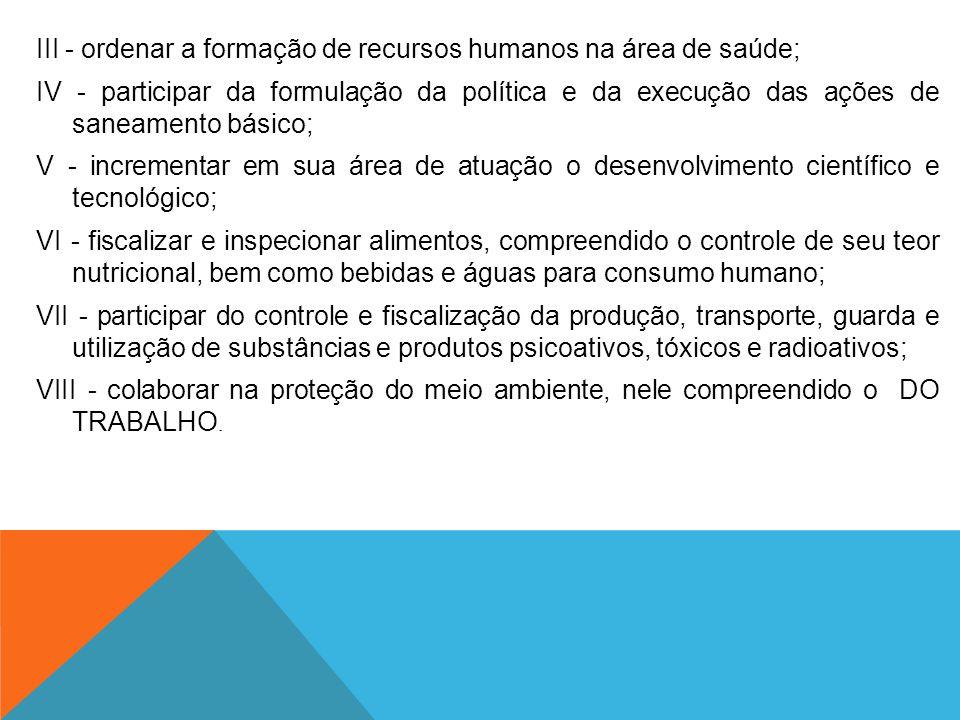III - ordenar a formação de recursos humanos na área de saúde; IV - participar da formulação da política e da execução das ações de saneamento básico;