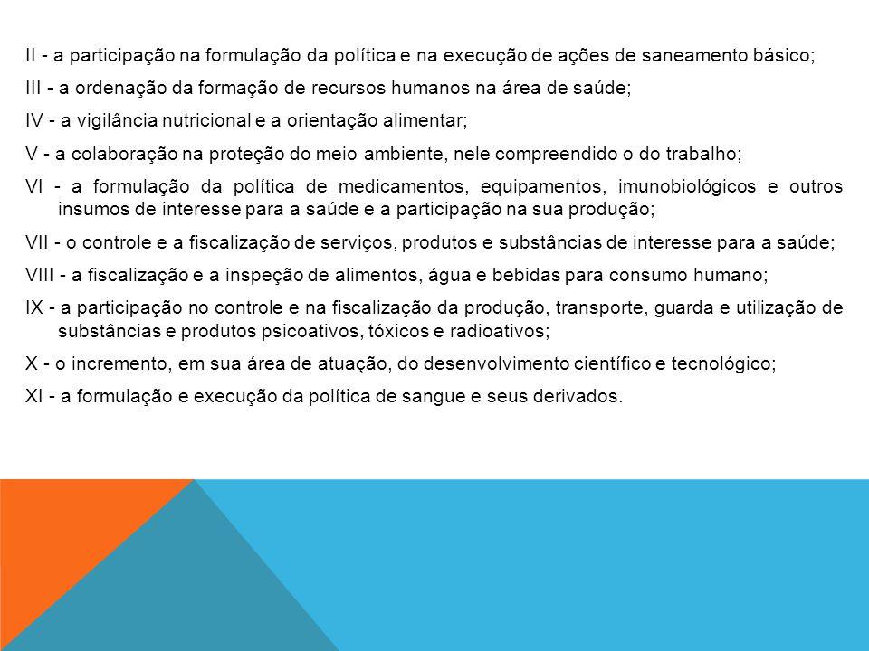 II - a participação na formulação da política e na execução de ações de saneamento básico; III - a ordenação da formação de recursos humanos na área d