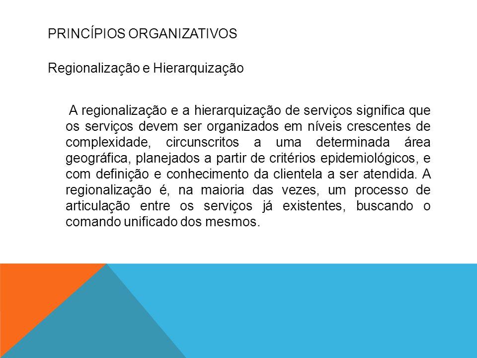 PRINCÍPIOS ORGANIZATIVOS Regionalização e Hierarquização A regionalização e a hierarquização de serviços significa que os serviços devem ser organizad