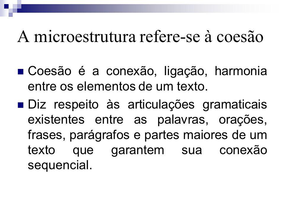 A microestrutura refere-se à coesão Coesão é a conexão, ligação, harmonia entre os elementos de um texto.