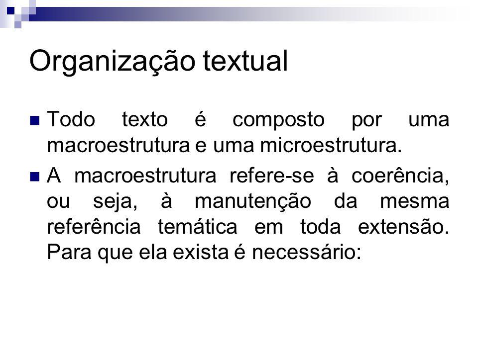 Organização textual Todo texto é composto por uma macroestrutura e uma microestrutura.