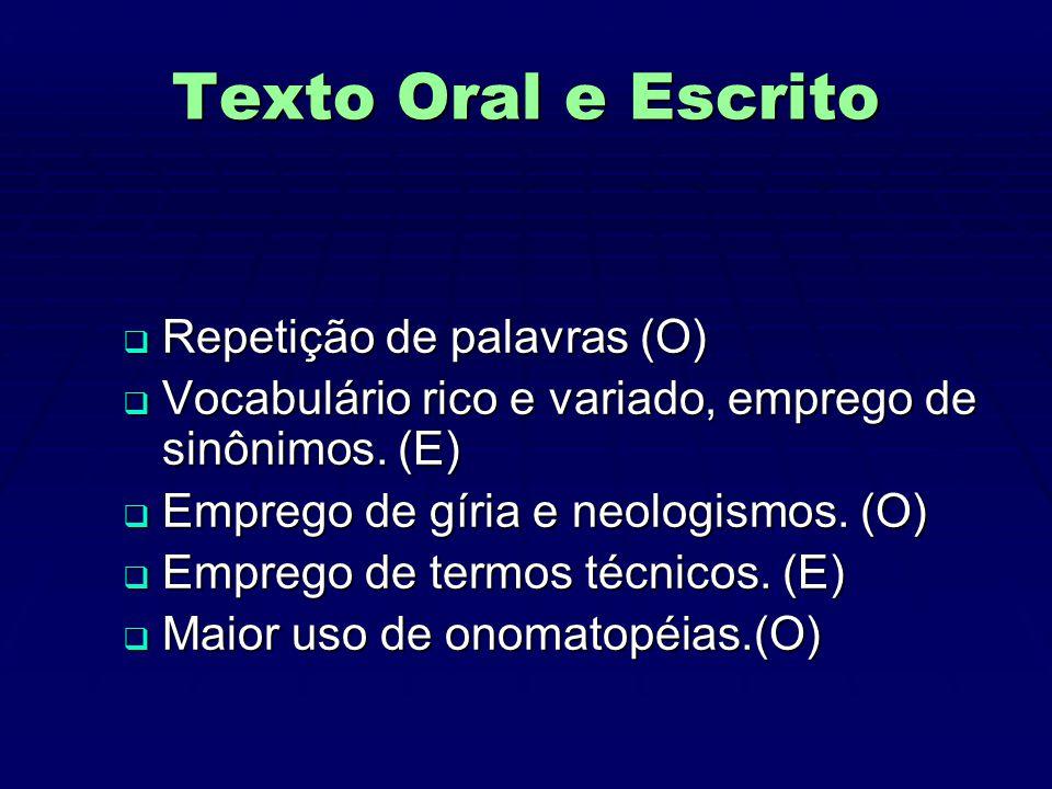 Texto Oral e Escrito  Repetição de palavras (O)  Vocabulário rico e variado, emprego de sinônimos.
