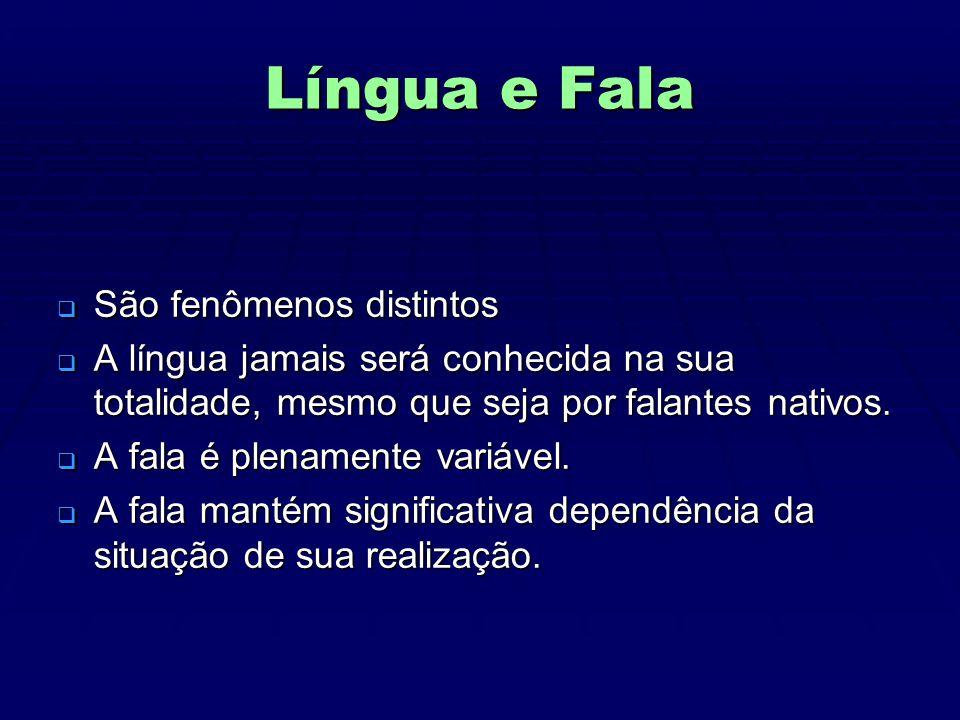 Língua e Fala  São fenômenos distintos  A língua jamais será conhecida na sua totalidade, mesmo que seja por falantes nativos.