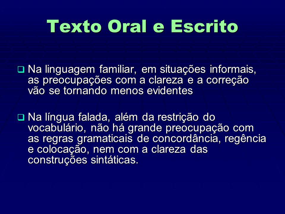Texto Oral e Escrito  A língua escrita mantém contato indireto entre quem escreve e quem lê, o que a torna mais abstrata.