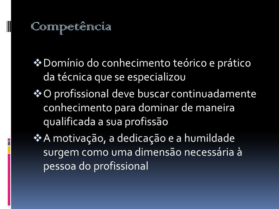 Competência  Domínio do conhecimento teórico e prático da técnica que se especializou  O profissional deve buscar continuadamente conhecimento para