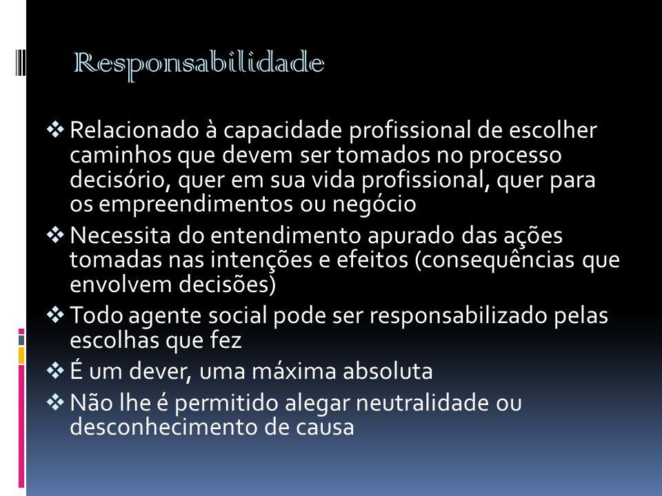 Responsabilidade  Relacionado à capacidade profissional de escolher caminhos que devem ser tomados no processo decisório, quer em sua vida profission