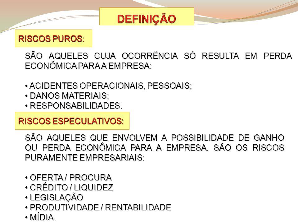 RISCOS PUROS: RISCOS ESPECULATIVOS: SÃO AQUELES CUJA OCORRÊNCIA SÓ RESULTA EM PERDA ECONÔMICA PARA A EMPRESA: ACIDENTES OPERACIONAIS, PESSOAIS; ACIDEN