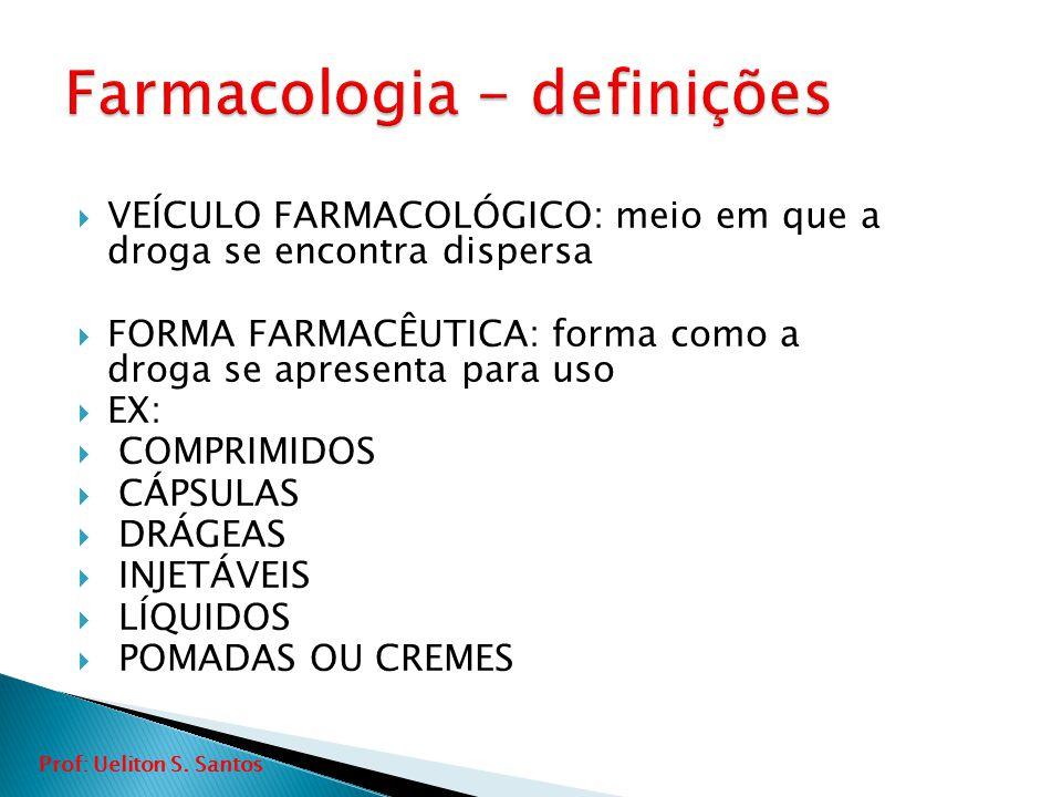  VEÍCULO FARMACOLÓGICO: meio em que a droga se encontra dispersa  FORMA FARMACÊUTICA: forma como a droga se apresenta para uso  EX:  COMPRIMIDOS 