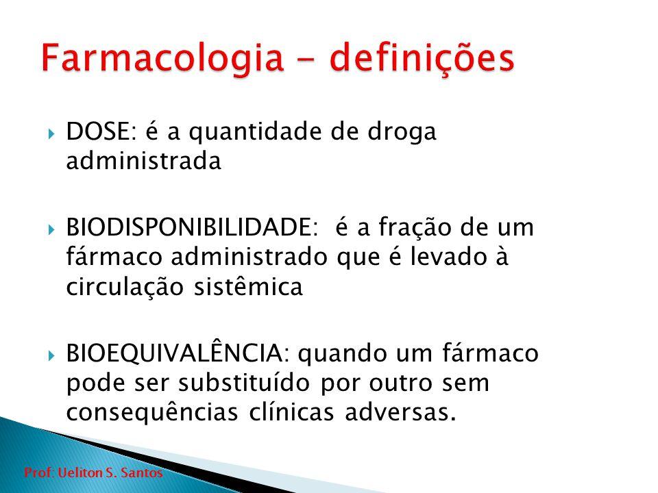  DOSE: é a quantidade de droga administrada  BIODISPONIBILIDADE: é a fração de um fármaco administrado que é levado à circulação sistêmica  BIOEQUI