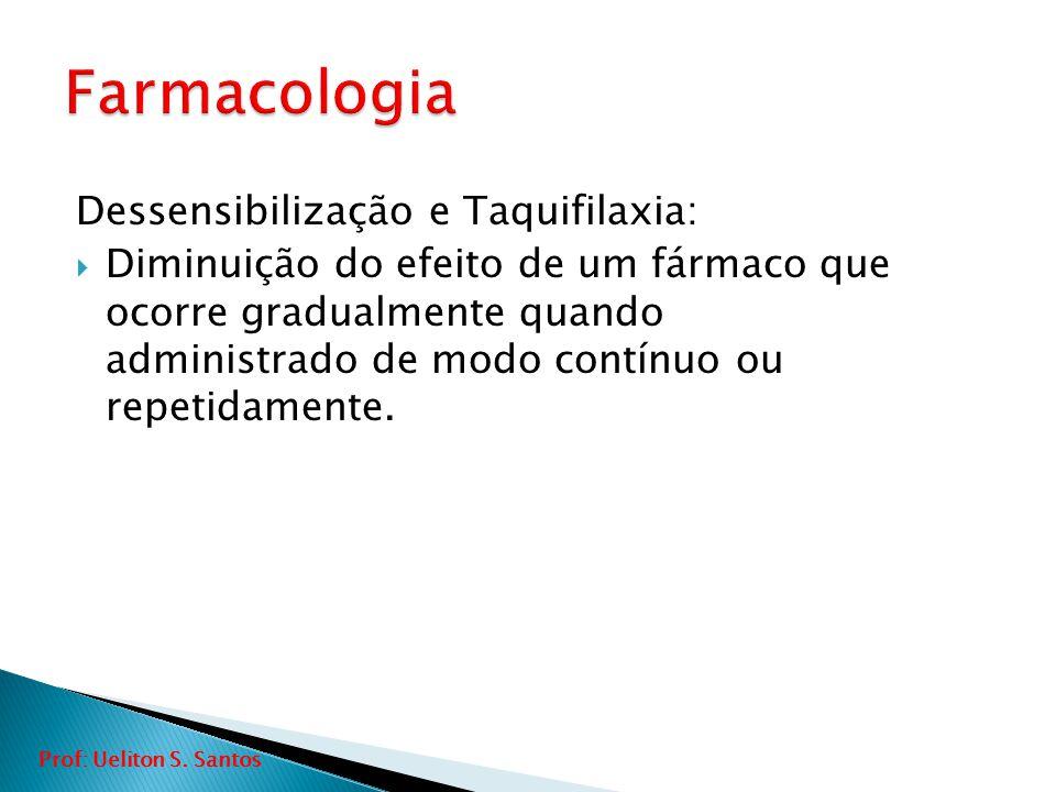 Dessensibilização e Taquifilaxia:  Diminuição do efeito de um fármaco que ocorre gradualmente quando administrado de modo contínuo ou repetidamente.
