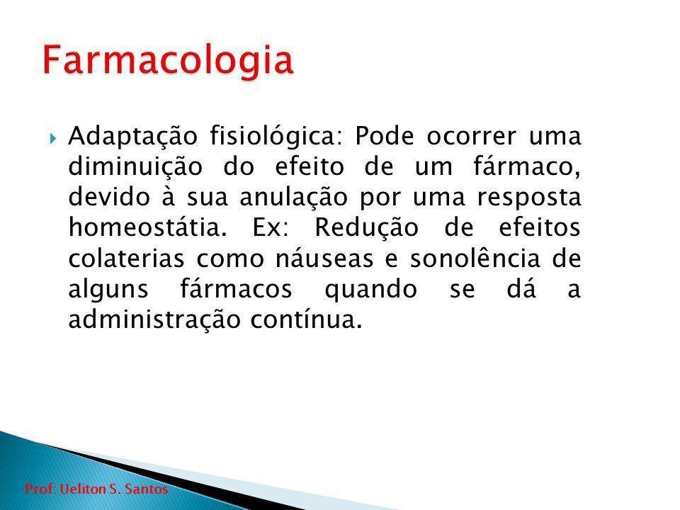  Adaptação fisiológica: Pode ocorrer uma diminuição do efeito de um fármaco, devido à sua anulação por uma resposta homeostátia. Ex: Redução de efeit