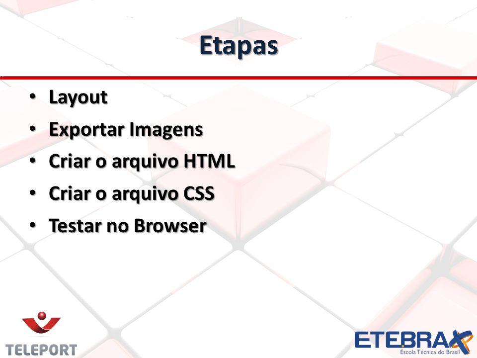 Etapas Layout Layout Exportar Imagens Exportar Imagens Criar o arquivo HTML Criar o arquivo HTML Criar o arquivo CSS Criar o arquivo CSS Testar no Browser Testar no Browser