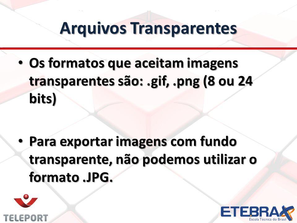 Arquivos Transparentes Os formatos que aceitam imagens transparentes são:.gif,.png (8 ou 24 bits) Os formatos que aceitam imagens transparentes são:.gif,.png (8 ou 24 bits) Para exportar imagens com fundo transparente, não podemos utilizar o formato.JPG.