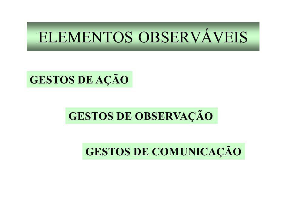 ELEMENTOS OBSERVÁVEIS GESTOS DE AÇÃO GESTOS DE OBSERVAÇÃO GESTOS DE COMUNICAÇÃO
