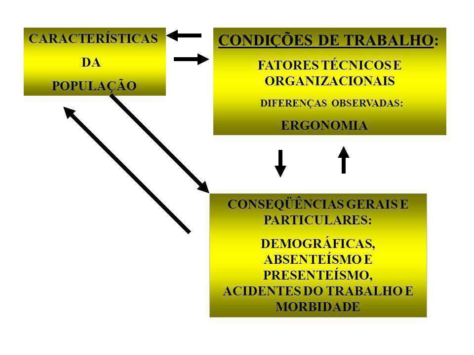 CARACTERÍSTICAS DA POPULAÇÃO CONDIÇÕES DE TRABALHO: FATORES TÉCNICOS E ORGANIZACIONAIS DIFERENÇAS OBSERVADAS: ERGONOMIA CONSEQÜÊNCIAS GERAIS E PARTICULARES: DEMOGRÁFICAS, ABSENTEÍSMO E PRESENTEÍSMO, ACIDENTES DO TRABALHO E MORBIDADE