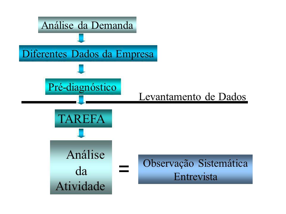 Observação Sistemática Entrevista Análise da Atividade TAREFA Análise da Demanda Diferentes Dados da Empresa Pré-diagnóstico Levantamento de Dados