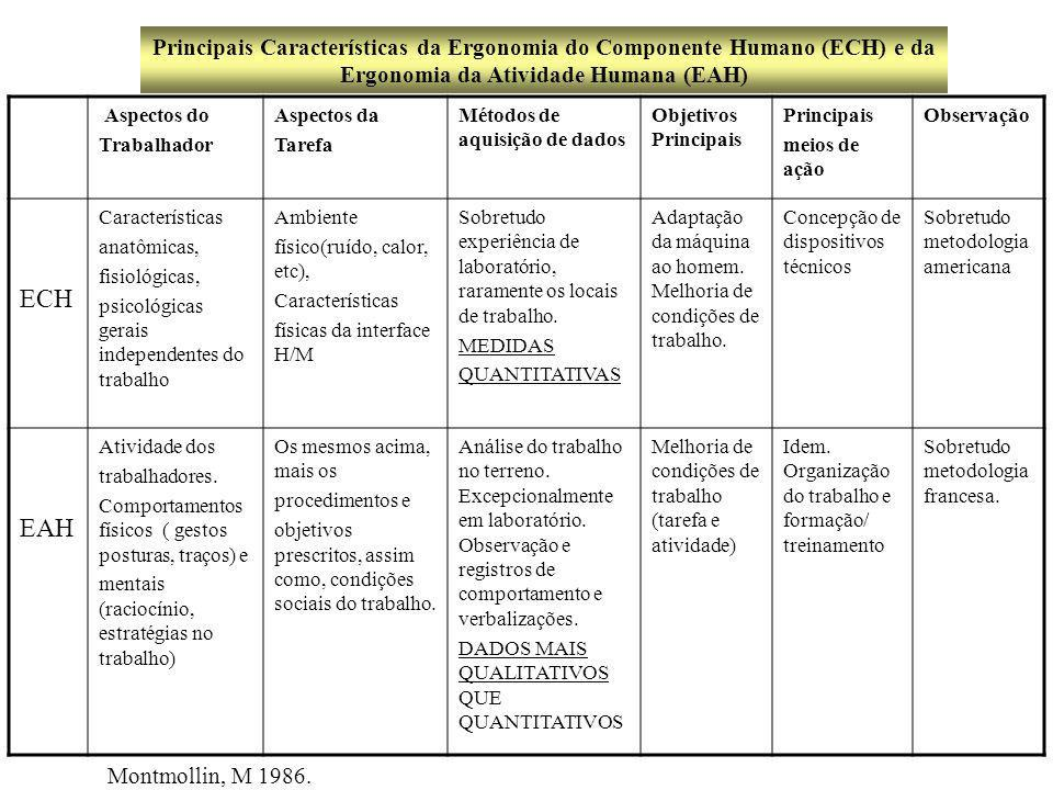 Aspectos do Trabalhador ECH Características anatômicas, fisiológicas, psicológicas gerais independentes do trabalho.