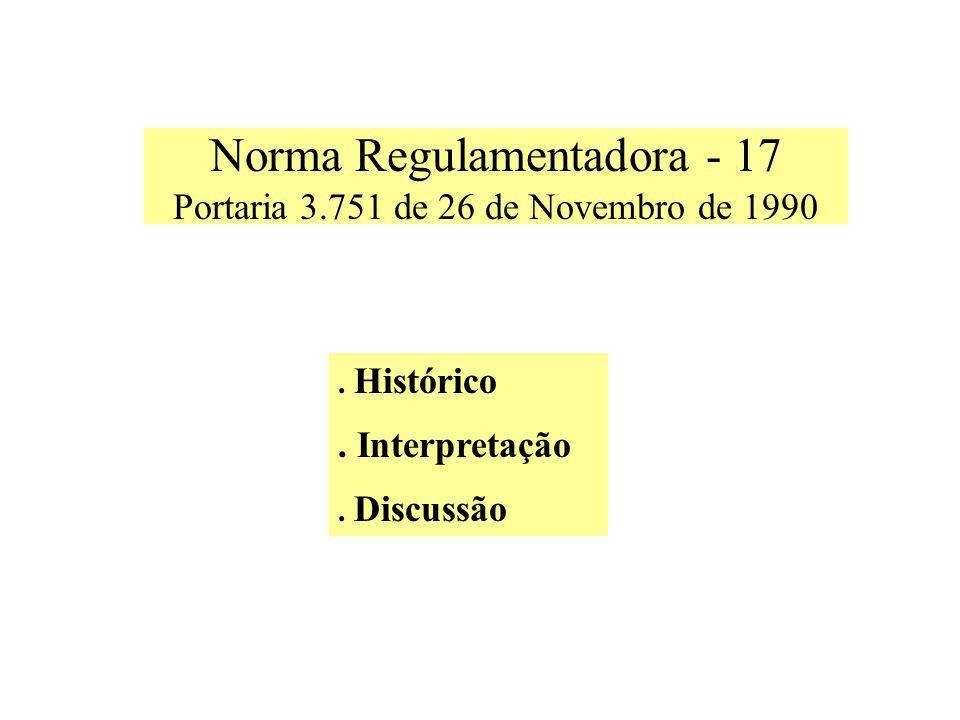 Norma Regulamentadora - 17 Portaria 3.751 de 26 de Novembro de 1990.