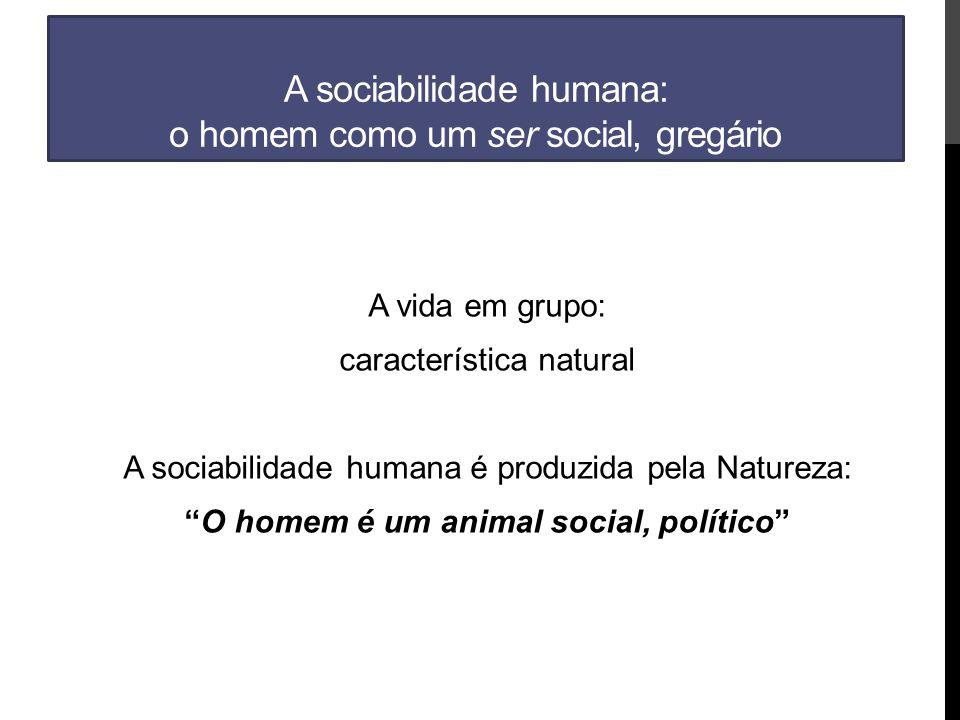 A sociabilidade humana: o homem como um ser social, gregário A vida em grupo: característica natural A sociabilidade humana é produzida pela Natureza: O homem é um animal social, político