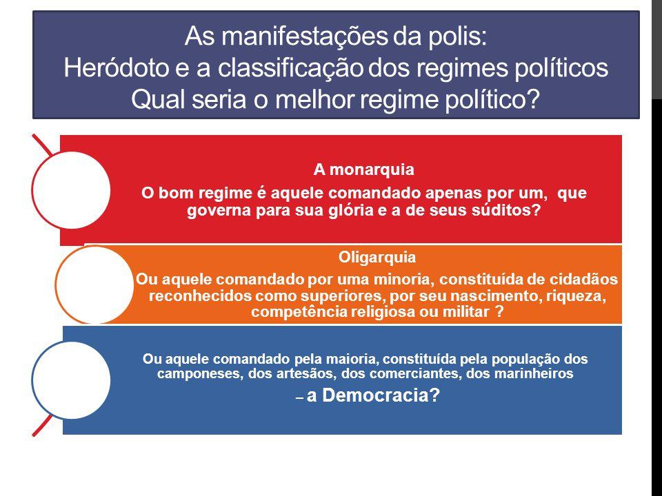 As manifestações da polis: Heródoto e a classificação dos regimes políticos Qual seria o melhor regime político? A monarquia O bom regime é aquele com