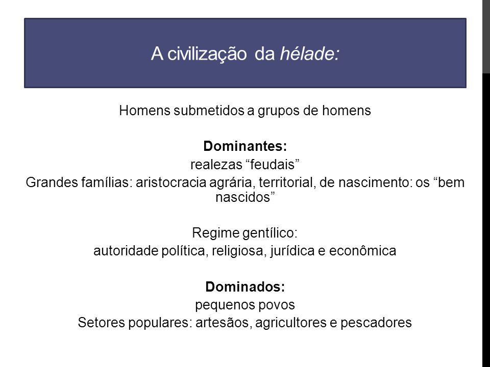 A civilização da hélade: Homens submetidos a grupos de homens Dominantes: realezas feudais Grandes famílias: aristocracia agrária, territorial, de nascimento: os bem nascidos Regime gentílico: autoridade política, religiosa, jurídica e econômica Dominados: pequenos povos Setores populares: artesãos, agricultores e pescadores