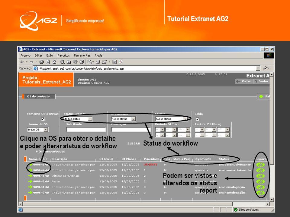 Tutorial Extranet AG2 Status do workflow Podem ser vistos e alterados os status report Clique na OS para obter o detalhe e poder alterar status do wor