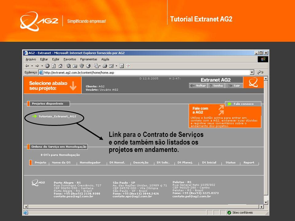 Link para o Contrato de Serviços e onde também são listados os projetos em andamento.