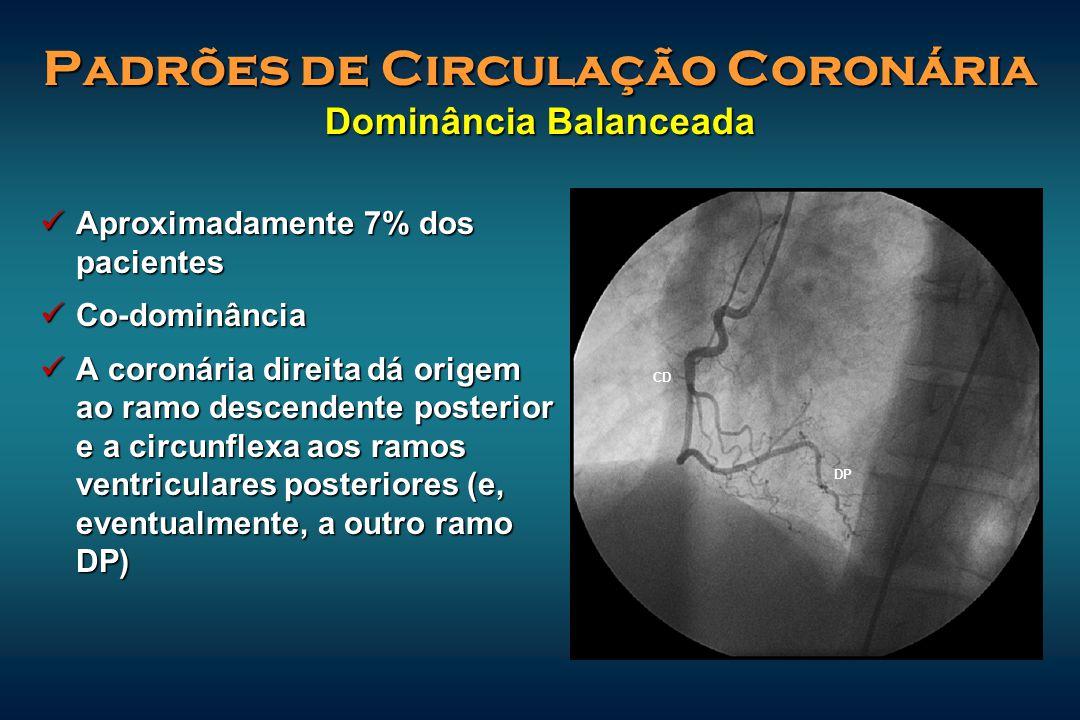 Padrões de Circulação Coronária Dominância Balanceada Aproximadamente 7% dos pacientes Aproximadamente 7% dos pacientes Co-dominância Co-dominância A