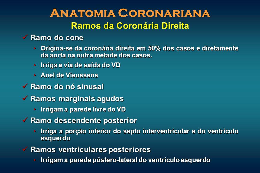 Ramo do cone Ramo do cone Origina-se da coronária direita em 50% dos casos e diretamente da aorta na outra metade dos casos.Origina-se da coronária di