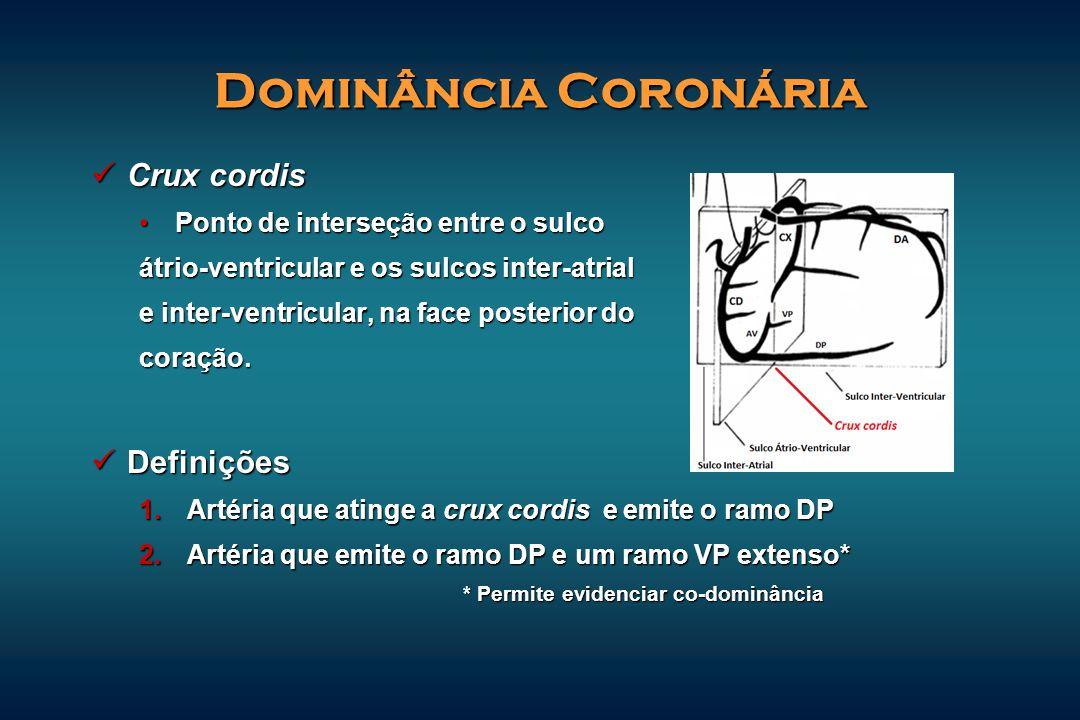 Dominância Coronária Crux cordis Crux cordis Ponto de interseção entre o sulcoPonto de interseção entre o sulco átrio-ventricular e os sulcos inter-at