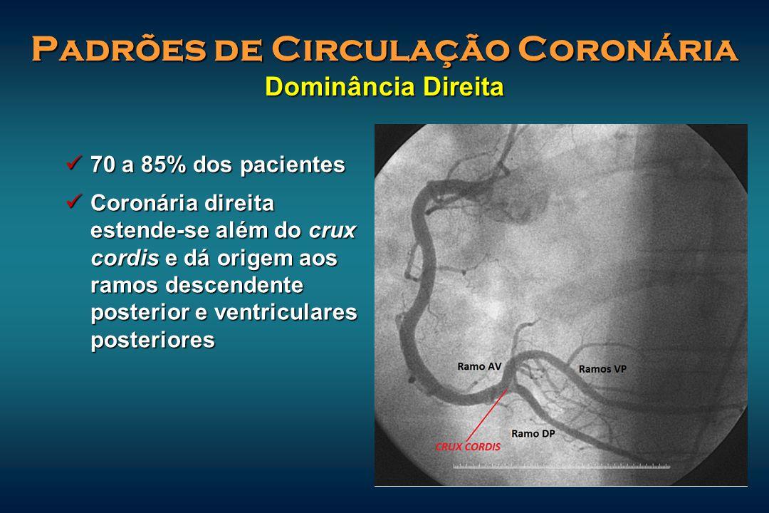 Padrões de Circulação Coronária Dominância Direita 70 a 85% dos pacientes 70 a 85% dos pacientes Coronária direita estende-se além do crux cordis e dá