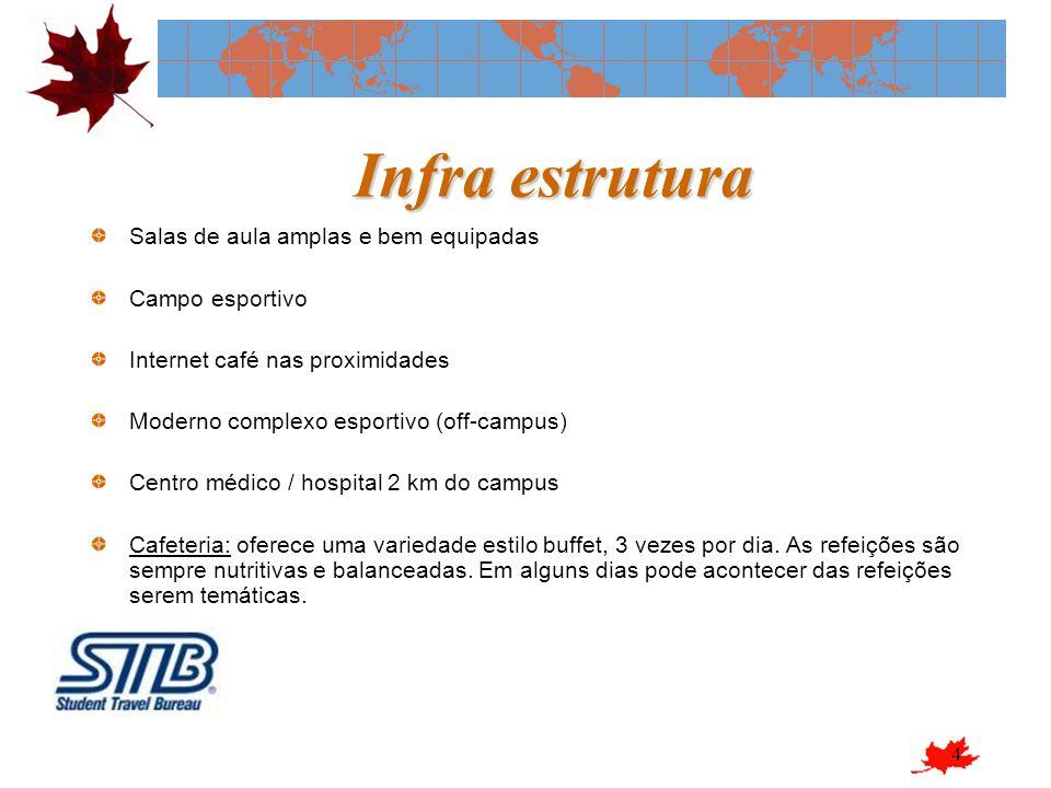 4 Infra estrutura Salas de aula amplas e bem equipadas Campo esportivo Internet café nas proximidades Moderno complexo esportivo (off-campus) Centro m