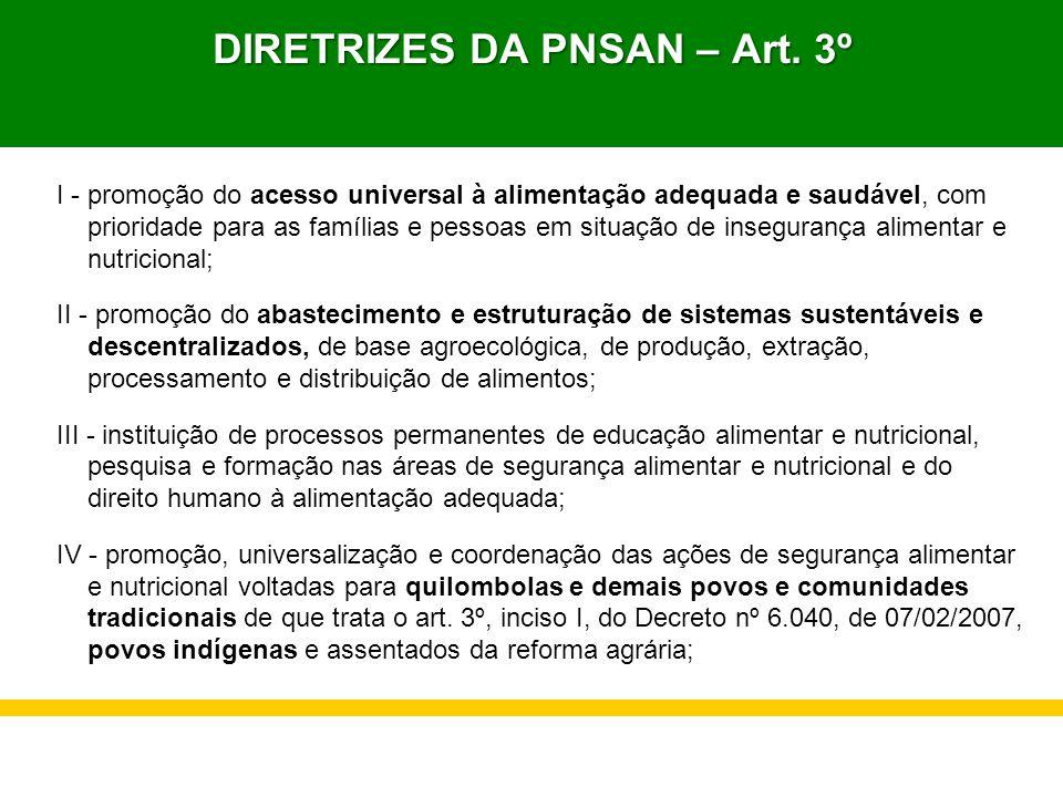 DIRETRIZES DA PNSAN – Art. 3º I - promoção do acesso universal à alimentação adequada e saudável, com prioridade para as famílias e pessoas em situaçã