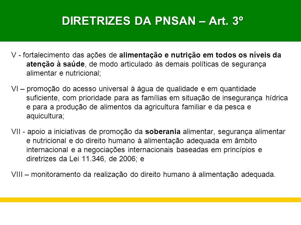 DIRETRIZES DA PNSAN – Art. 3º DIRETRIZES DA PNSAN – Art. 3º V - fortalecimento das ações de alimentação e nutrição em todos os níveis da atenção à saú