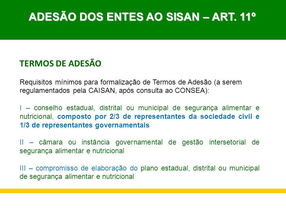 TERMOS DE ADESÃO Requisitos mínimos para formalização de Termos de Adesão (a serem regulamentados pela CAISAN, após consulta ao CONSEA): I – conselho