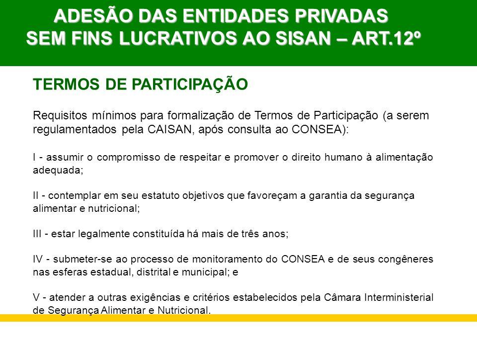 TERMOS DE PARTICIPAÇÃO Requisitos mínimos para formalização de Termos de Participação (a serem regulamentados pela CAISAN, após consulta ao CONSEA): I