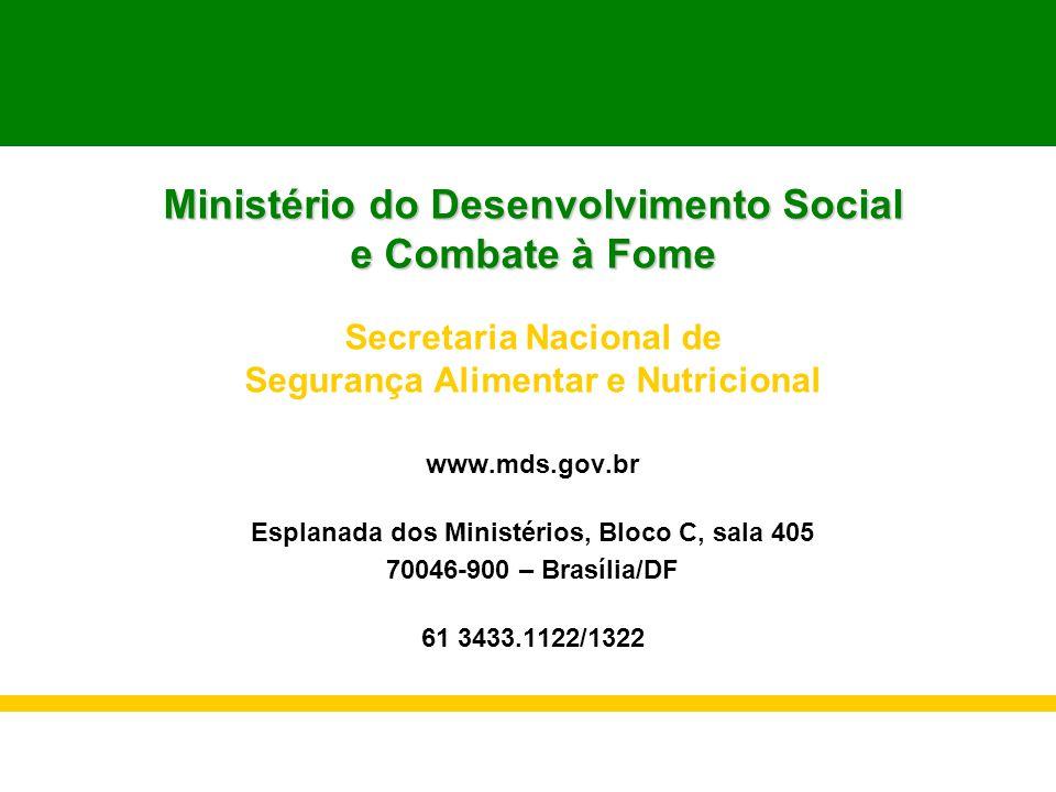 Ministério do Desenvolvimento Social e Combate à Fome Secretaria Nacional de Segurança Alimentar e Nutricional www.mds.gov.br Esplanada dos Ministério