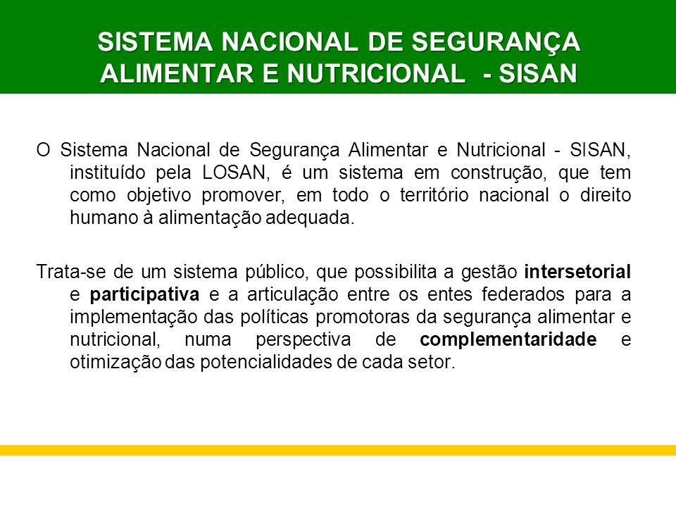 SISTEMA NACIONAL DE SEGURANÇA ALIMENTAR E NUTRICIONAL - SISAN O Sistema Nacional de Segurança Alimentar e Nutricional - SISAN, instituído pela LOSAN,