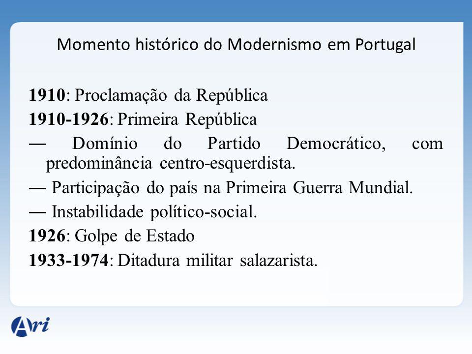 Momento histórico do Modernismo em Portugal 1910: Proclamação da República 1910-1926: Primeira República ― Domínio do Partido Democrático, com predomi
